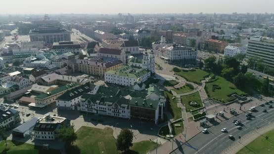 Thumbnail for Nemiga Street in Minsk City Belarus Aerial Center Cityscape Old Town Panorama Buildings and Church