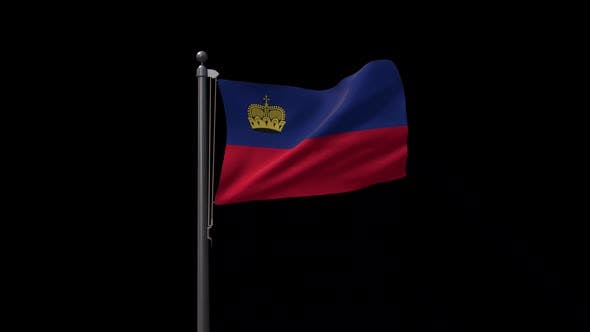 Liechtenstein Flag On Flagpole With Alpha Channel