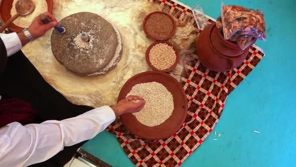 Crushing Wheat With Turning Stone To Make Flour 7