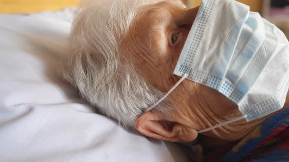 Thumbnail for Close Up Face of Old Woman Wearing Protective Mask From Virus. Sick Elderly Lady with Medical Face