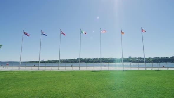 Thumbnail for Flags along the riverside