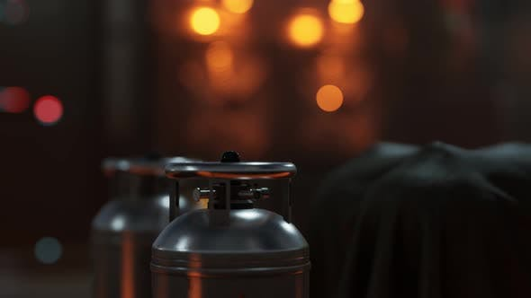 Thumbnail for Schweißgeräte Acetylen-Gasflasche mit Manometer am Sauerstofftank