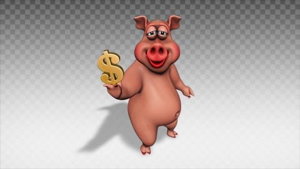 Cartoon Pig - Show Dollar Symbol