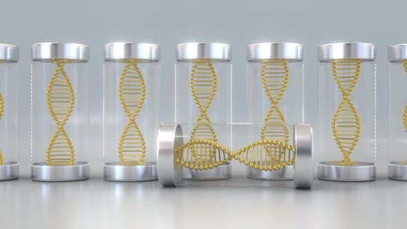 Thumbnail for Laboratory Jars with Gold DNA Molecule Models