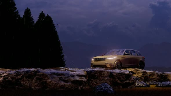 Thumbnail for White Luxury Off-Road Vehicle Standing in Mountainous Area with Rainy and Foggy Evening