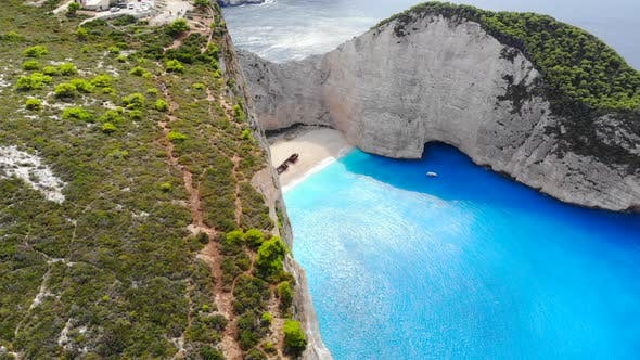 Thumbnail for Aerial View of Navagio Shipwreck Beach in Zakynthos Greece