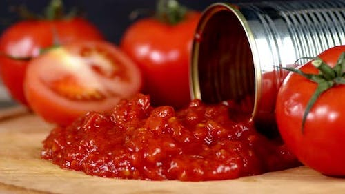 Tomato Sauce with Spices From Cans Rotates Slowly.