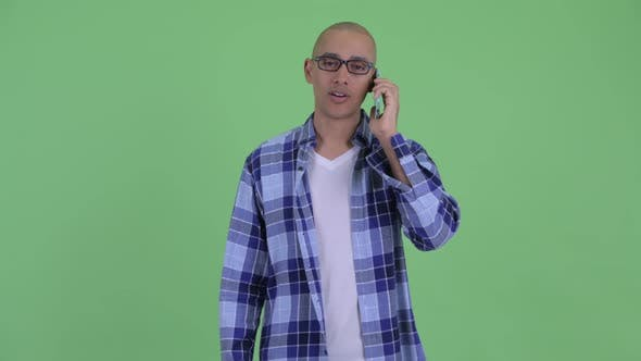 Thumbnail for Happy Bald Hipster Man Talking on the Phone
