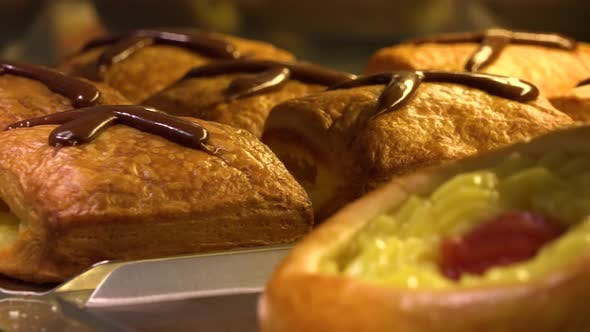 Thumbnail for Traditional Czech Pies and Baked Goods in the Background on Display on a Counter in a Bakery