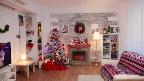 Living Room Decorated for Christmas Holiday