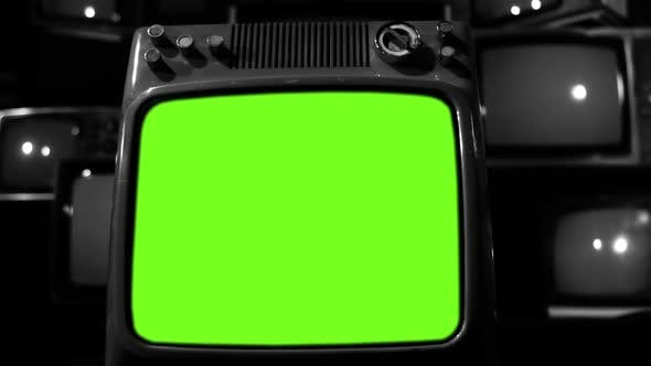 Thumbnail for Old Television turning on Green Screen with Static Noise. Black and White Tone.