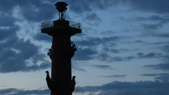Thumbnail for Silhouette Of Rostral Column In The White Nights Sky, St. Petersburg, Russia
