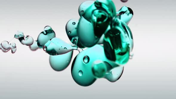 Thumbnail for Transparent Cosmetic Turquoise Oil Bubbles and Shapes on White Background