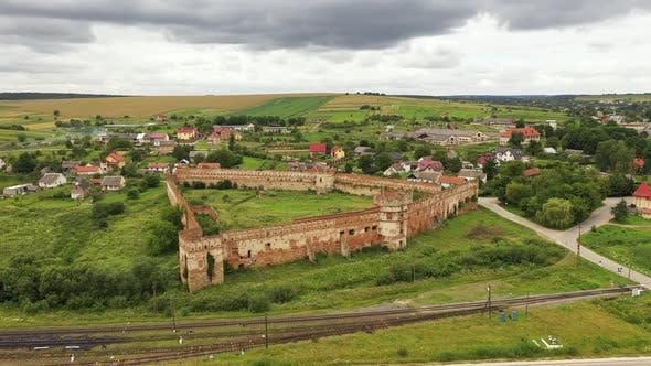 Thumbnail for Staroselsky Castle Ruins on Cloudy Day Lviv Region Ukraine