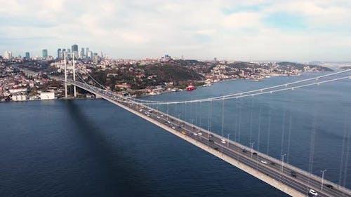 Aerial View of Istanbul Bosphorus Bridge