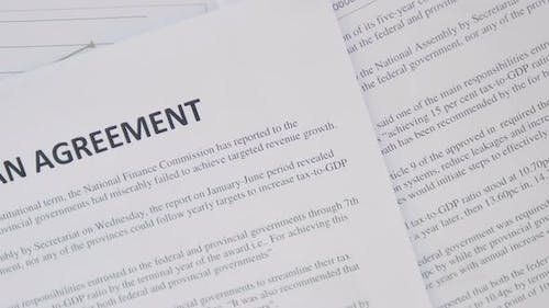 Top View of Loan Agreement