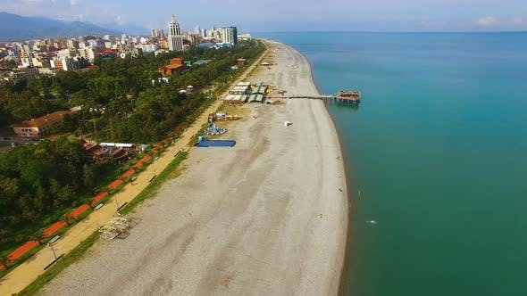 Thumbnail for Batumi Georgia Public Beach Black Sea Resort Tourist Aerial View