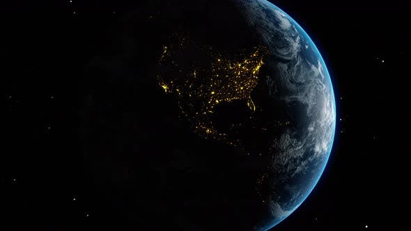 Thumbnail for Planet Earth Globe Moving Through Black Universe