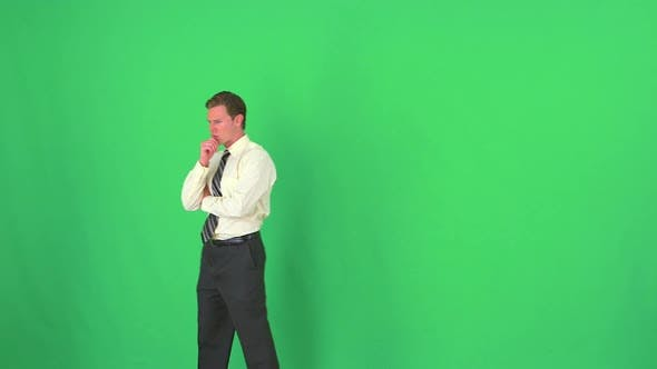 Thumbnail for businessman thinking on greenscreen