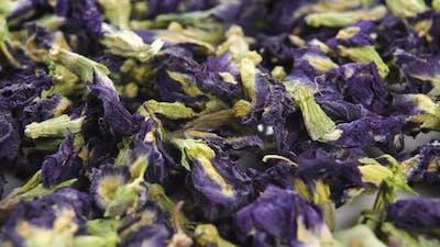 Dry butterfly tea. Blue dried Clitoria ternatea flowers. Macro