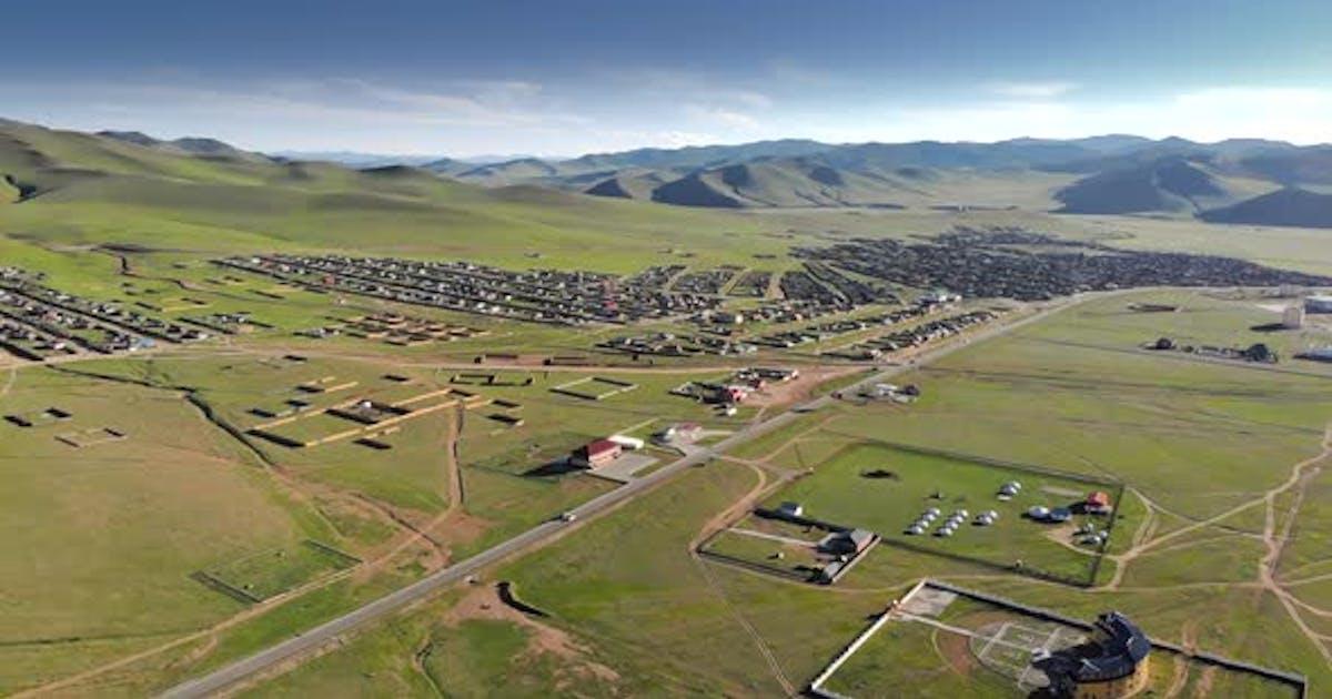 Aerial Kharkhorin Ovorkhangai Province in Mongolia