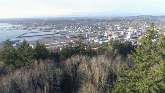 Thumbnail for Bellingham Washington Aerial Reveal City Urban Landscape - Waterfront, Downtown