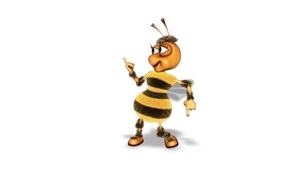 Cartoon Bee Dance  Looped on White Background