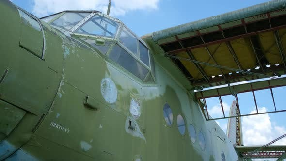 Thumbnail for Close Up of Old Military Transport Aircraft