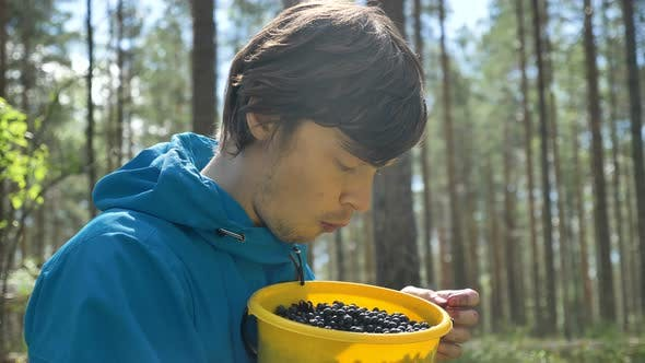 Thumbnail for Guy in Blue Jacket Smells and Eats Blueberries in Wood