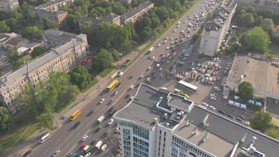 Ambulance In City Traffic Aerial