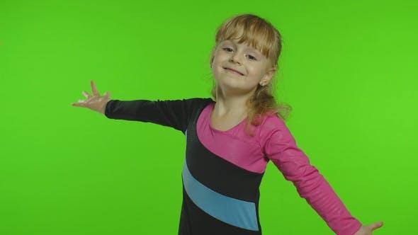 Thumbnail for Child Ballerina Exercising in Studio on Chroma Key Background. Girl Kid Dancing, Making Gymnastics
