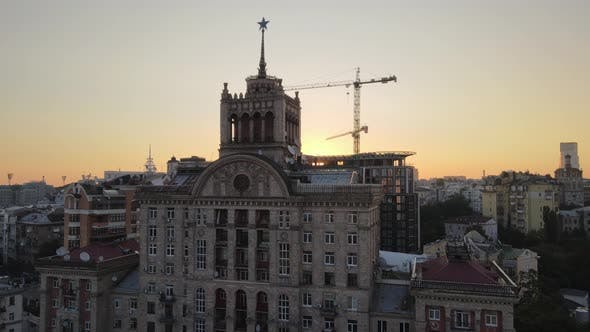 Thumbnail for Ukraine, Kyiv : City Center in the Morning at Sunrise. Aerial View. Kiev