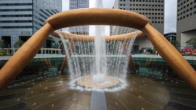 Time-lapse of the Fountain of Wealth, it is the famous place in Suntec City, Singapore