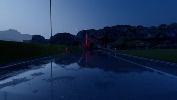 Thumbnail for Vehicles Passing Through the Tunnel in Rainy Evening Weather