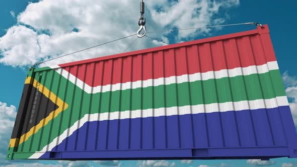 Thumbnail for Loading Cargo Container with Flag of South Africa