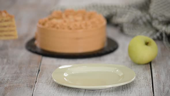 Thumbnail for Piece of Apple Layer Cake with Caramel Cream