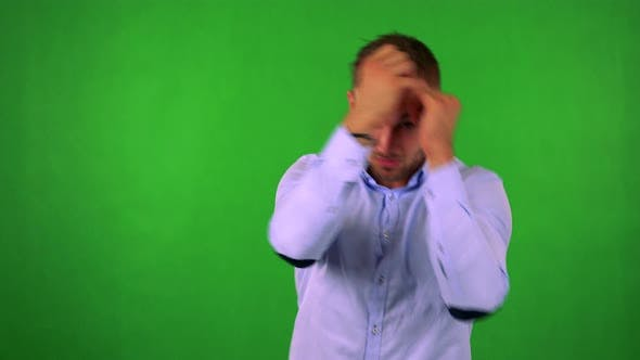 Thumbnail for Young Handsome Business Man Does Box - Green Screen - Studio