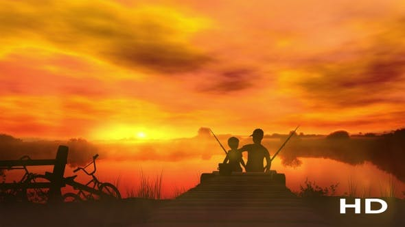 Thumbnail for Two Boys At Sunset Catch Fish HD
