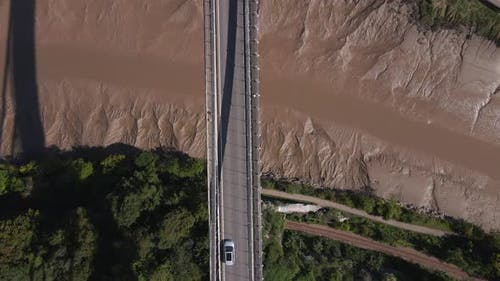 Aerial Shot Flying Over A Bridge