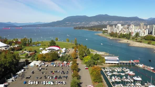 Thumbnail for Aerial Drone Fligh Above Vancouver Bridge, Marina and Park, Canada