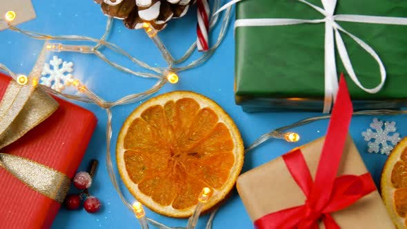 Thumbnail for Christmas Gifts and Decorations on Blue Background 28