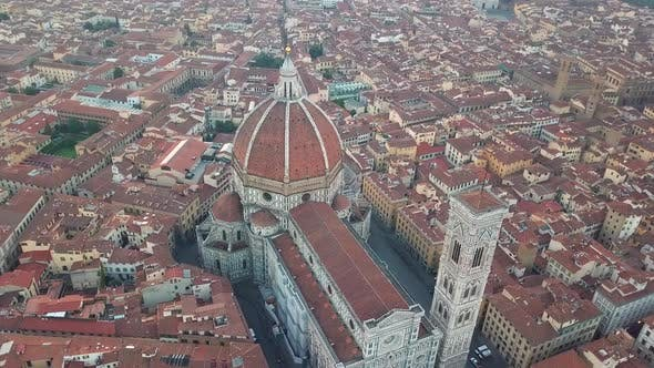 Aerial View on the City and Cathedral of Santa Maria Del Fiore. Florence, Tuscany, Italy