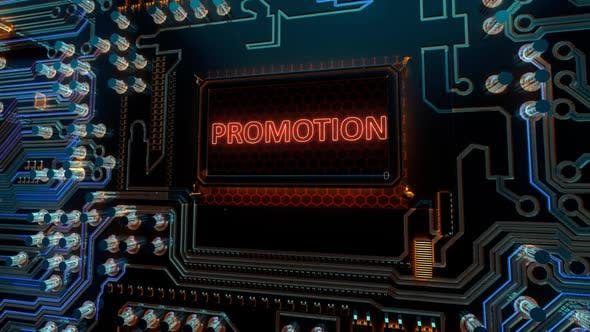 Advertising Marketing Sale Discount an Promotion Words on Digital Futuristic Circuit Board