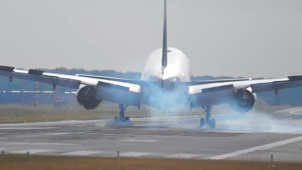 Thumbnail for Widebody Airplane Landing at Morning