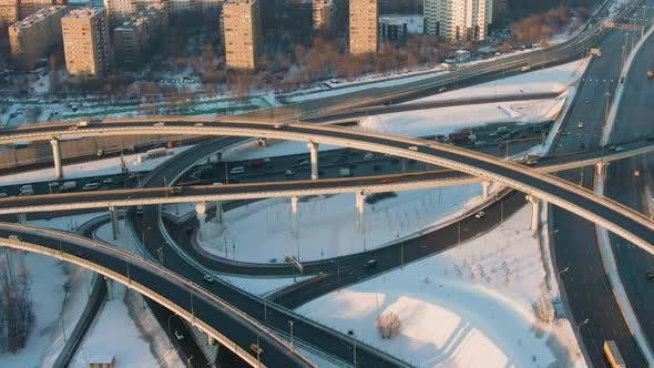 Thumbnail for Complex Flyover and Road Traffic at Sunny Winter Day