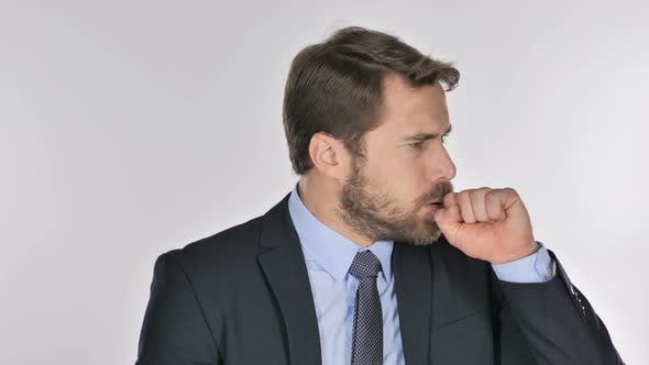 Cover Image for Portrait of Businessman Coughing, Throat Infection