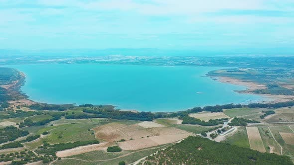 Thumbnail for Flying Drone Over the Salt Lake Near the Town of Torrevieja in Spain