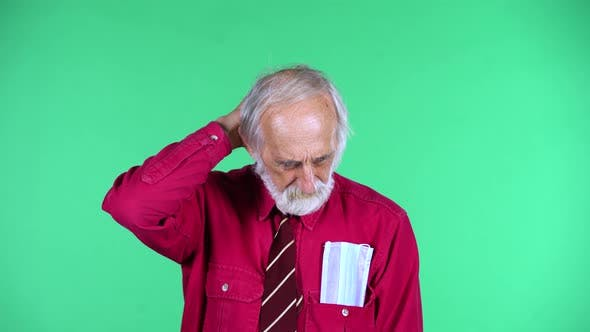 Cover Image for Portrait of Happy Old Aged Man 70s Is Thinking About Something, and Then an Idea Coming To Him