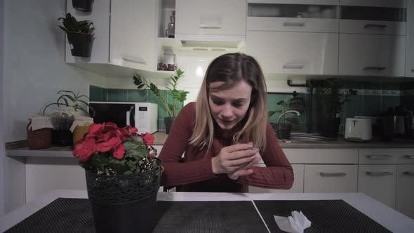 Thumbnail for Seasonal Disease, Young Woman Suffering From a Respiratory Allergy To Flowering Houseplants Sneezes