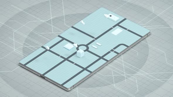 Thumbnail for 3D Stadt auf dem Bildschirm des Mobiltelefons.